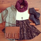skirt,leopard print,high waisted,outfit,leapord,skater skirt,cute,coat,scarf,jacket,shoes,cheetah high waisted skirt,burgundy,leopord,bag,vintage,cute dress,girly,tumblr,animal print,high heels,brown leather,crop tops,boots,purse,necklace,infinity scarf,top,heels,booties,fall outfits,autumn/winter,brown platform,blouse,jewels,chic,green coat,cardigan,green jacket,red scarf,cheetah skirt,dress,floral