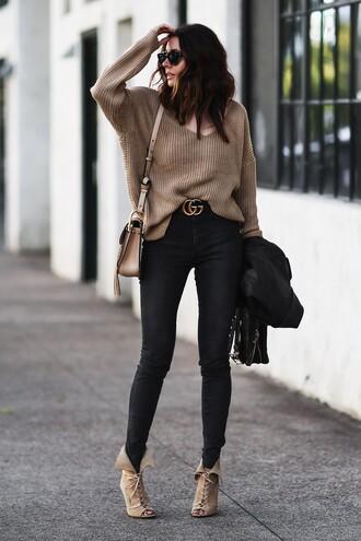 fashionedchic blogger sweater jeans shoes jacket bag belt shoulder bag gucci belt beige sweater skinny jeans