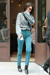 shoes,boots,denim,shirt,plaid,kendall jenner,kardashians,streetstyle,model off-duty