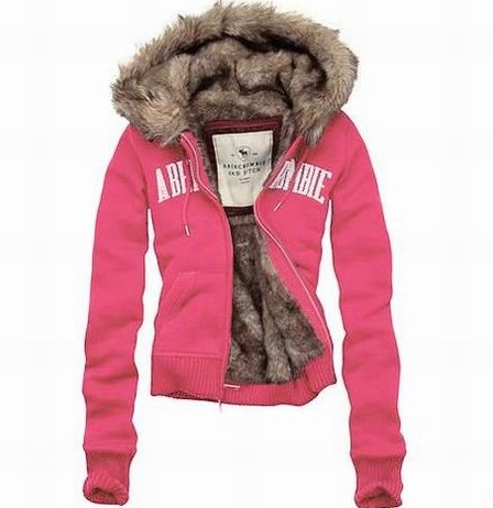Abercrombie and Fitch Vivian Fur Hoodies Pink ing150134 - $143.79