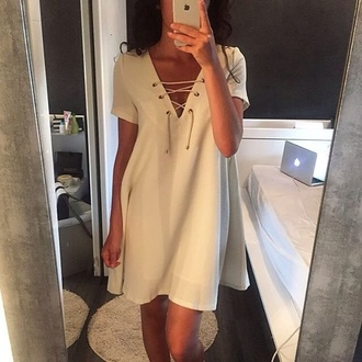 dress white white dress lace dress lace up short dress summer dress sunmer style