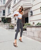 shoes,strappy sandals,sandals,pants,top,crop tops,jacket,sunglasses