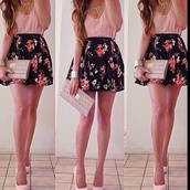 skirt,flower skirt,pink skirt,black skirt,flowers,pink,black,pink shirt,summer,bag,dress,shoes,jeans,jewels,cute,outfit,blouse,shirt,girl,neck dress,floral skirt,skater skirt,spring,flirty,underwear,floral,pink pastel dresses,floral dress,summer dress,pink floral kimono,high waisted skirt,heels,crop tops,high heels,pink 2 inch strap tanktop,sheer,flowy,black and pink floral highwaisted skater skirt,wallet,amazing,pink tank top,pretty,pretty skirt,cute skirt,summer outfits,necklace,mini skirt,clutch,top,spring skirt,black with flower design,fashion,pink dress