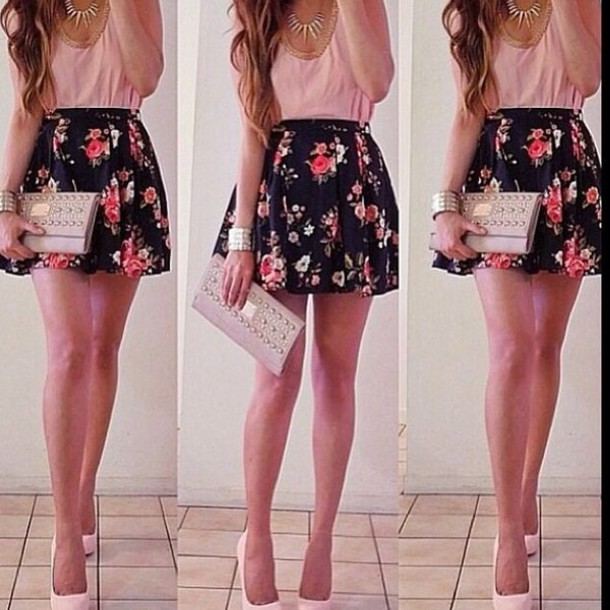 Skirt: flower skirt, pink skirt, black skirt, flowers, pink, black ...