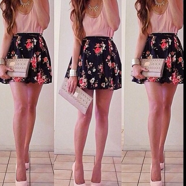 skirt flower skirt pink skirt black skirt flowers pink black pink shirt girl neck dress