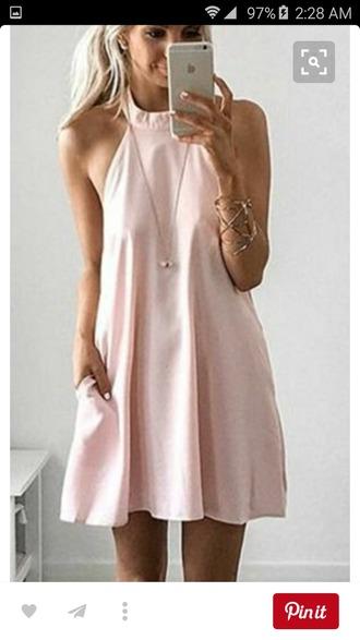 dress light pink dress mini dress halter dress