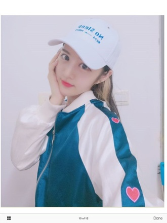 jacket white blue baseball jacket bomber jacket heart cute korean fashion ulzzang k-pop