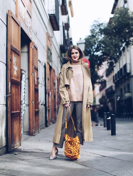 bag tumblr yellow yellow bag pants grey pants coat trench coat camel camel coat long coat sweater nude sweater