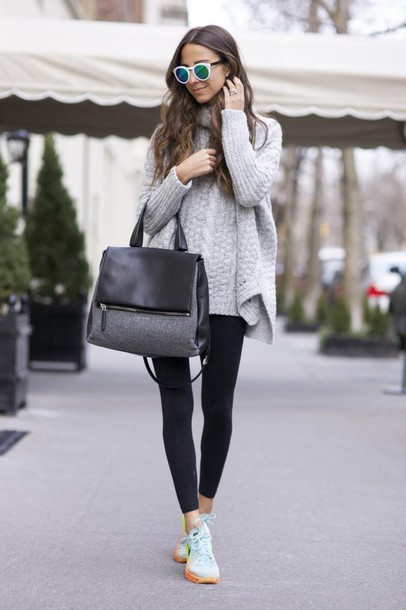 something navy blogger leggings sunglasses oversized turtleneck sweater brunette sneakers handbag winter sweater grey cable knit sweater cable knit bag grey bag white sunglasses black leggings blue sneakers