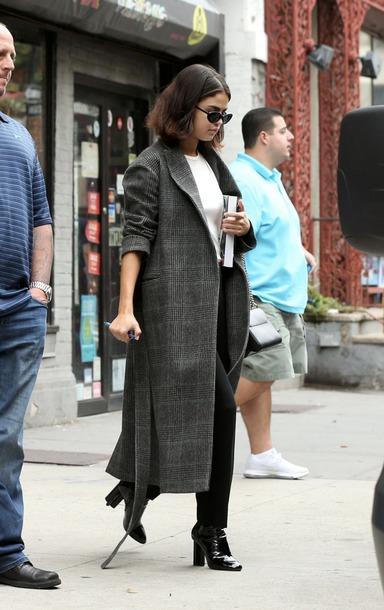 coat greycoat selena gomez grey coat midi coat selena gomez coat checkered coat long sleeves winter outfits winter coat cute grey