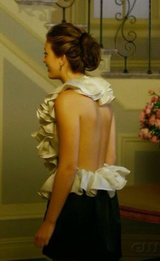 top blair waldorf ruffle backless