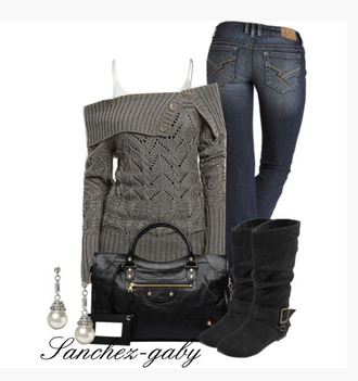 sweater grey off the shoulder jeans gray bag clothes boots knitted sweater long sleeves top earrings purse black purse shin high boots buckle black boots suede outfit