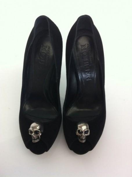 skull black velvet peep toe heel shoes