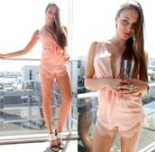 jumpsuit,pastel pink,short,cute,lace,bow