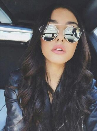 sunglasses madison beer glasses sunnies mirrored sunglasses accessories accessory celebrity style leather jacket