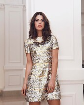 dress,tumblr,party dress,mini dress,sequins,sequin dress,short sleeve,gold dress,party