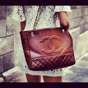 bag,chanel,quilted,handbag,viva luxury,quilted bag,tory burch,chanel inspired,brown leather bag