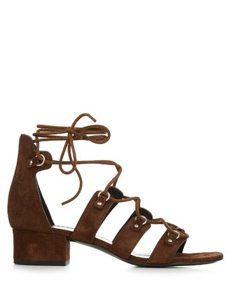 sandals lace suede dark brown shoes