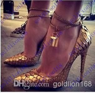 New Arrival Luxury Women Pumps Design Golden Lock Wedding Shoes | Buy Wholesale On Line Direct from China