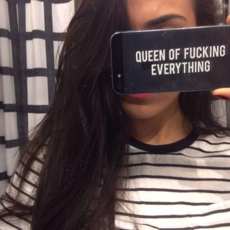 phone cover black quote on it white queen