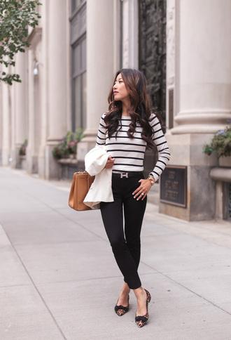 t-shirt skinny black pants pants leopard flats pointy flats blazer blogger blogger style striped t-shirt long sleeve shirt flats handbag casual chic
