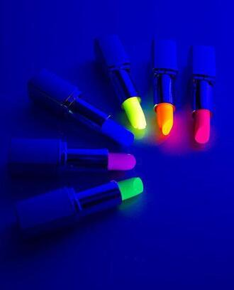 jewels lipstick neon make-up glow in the dark nail polish belt glow in the dark lipstick pink lipstick blue lipstick cute orange lipstick yellow lipstick sexy green blue yellow gitd orange neon orange neon pink purple lipstick neon yellow summer accessories