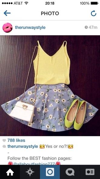 shirt skirt shoes tank top blue top floral yellow blue skirt yellow top yellow shoes outfit