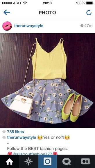 shoes yellow yellow shoes shirt blue skirt top tank top blue skirt floral yellow top outfits