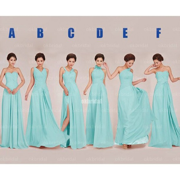 dress tiffany blue mismatched bridesmaid