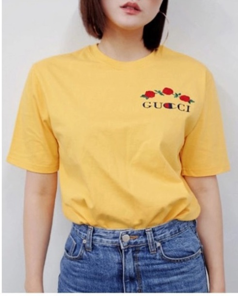 T-shirt tumblr tumblr shirt yellow gucci embroidered trendy gucci t-shirt champion ...