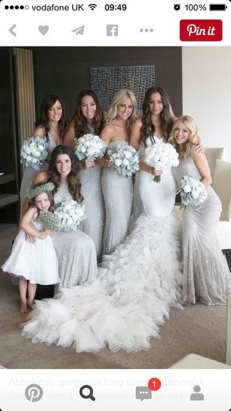 dress silver bridesmaid sequin winter wedding