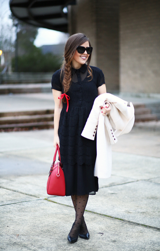 dress corilynn blogger sunglasses black dress midi dress red bag polka dot tights black midi dress bag black sunglasses coat white coat short sleeve pumps pointed toe pumps high heel pumps