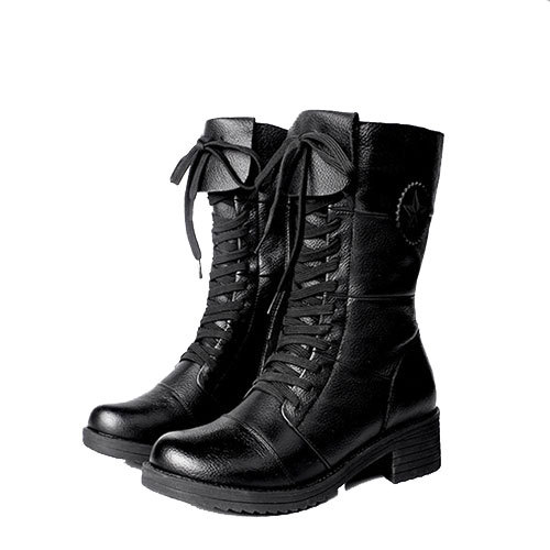 [grxjy5190312]Lace Up Zipper Black Martin Combat Boots Low Heel Padded Shoes  / brashycouture