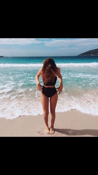 swimwear black bikini high waisted bikini black high wasted bikini