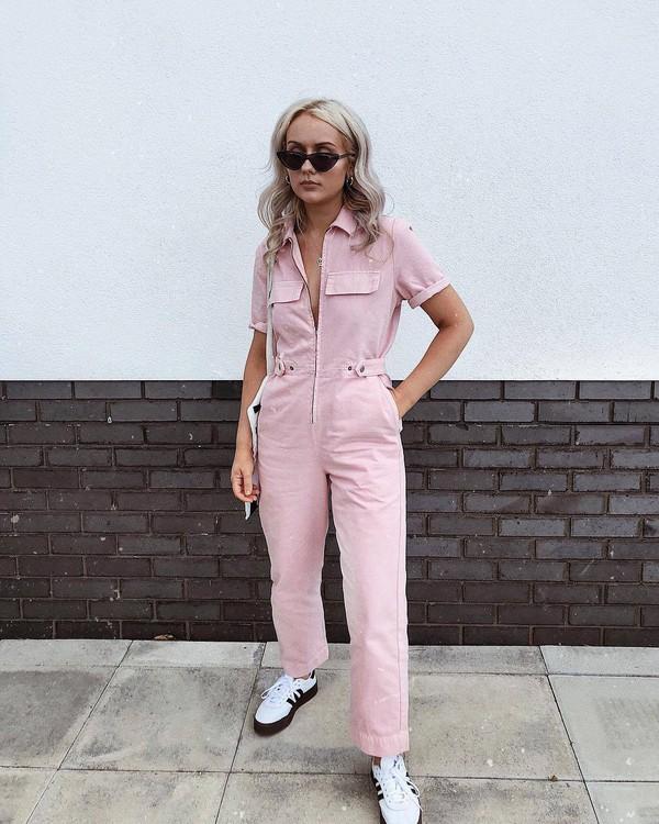 jumpsuit sneakers pink jumpsuit shoes sunglasses bag