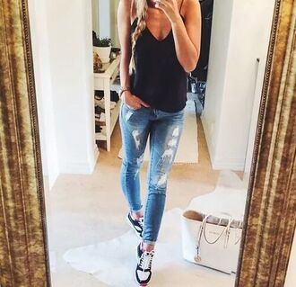 shoes athletic black and white blouse black blouse blue blue jeans black white white bag stylish streetstyle chic everyday wear everyday look everyday outfit street fashion jeans