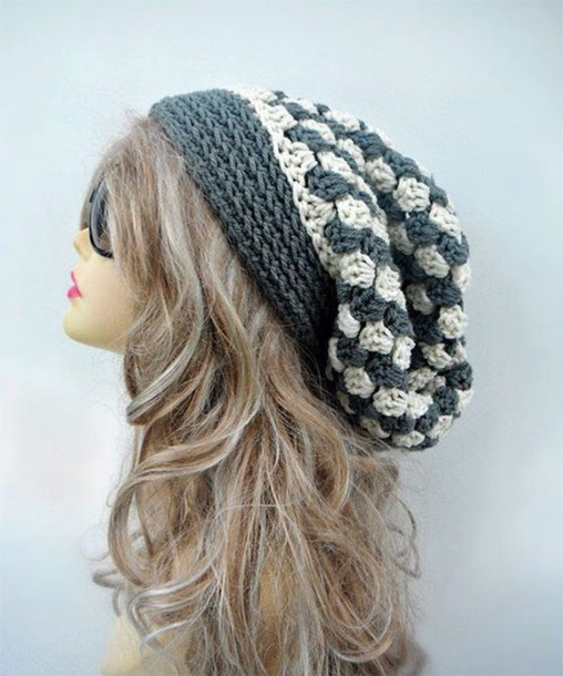 hat slouchy beanie beanie winter swag winter outfits grey dress white beanie pattern