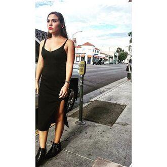 dress nastygal ribbed ribbed dress knit tank dress side slit sligt black dress black
