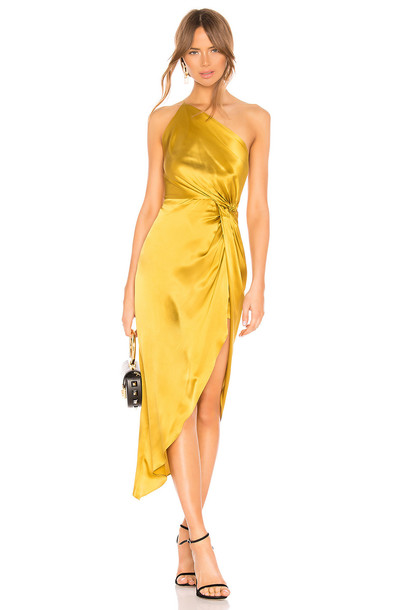 Michelle Mason Twist Knot Gown in gold / metallic