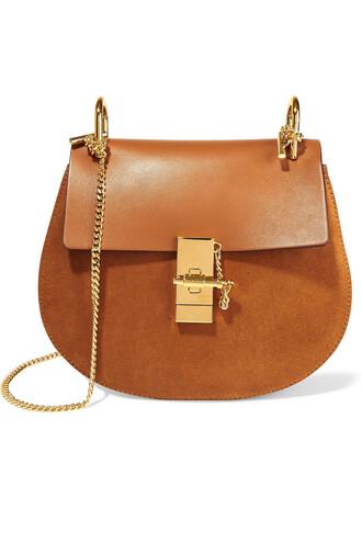 bag shoulder bag leather suede camel