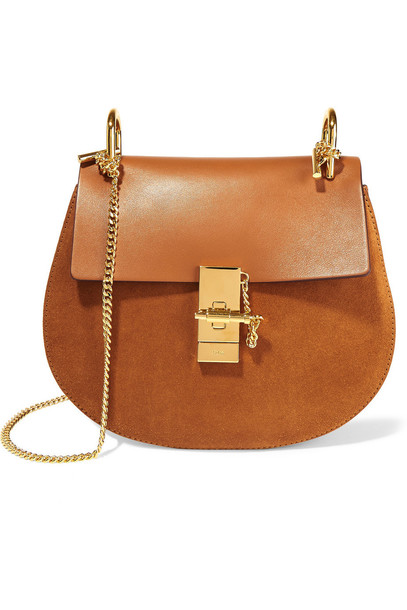 bag shoulder bag leather suede camel