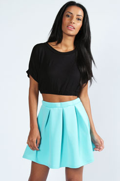Leanne Box Pleat Scuba Skater Skirt at boohoo.com