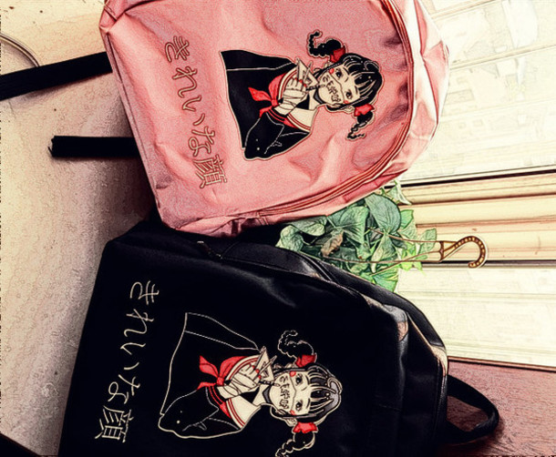 cute animated girl with black cat backpack.   anime   Pinterest ...