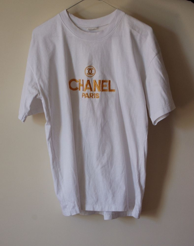 Chanel Paris Authentic Boutique Gold Embroidered Logo T