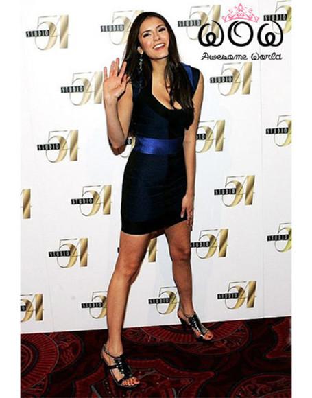 bandage dress nina dobrev elegant dress luxury dress dark blue dress celebrity dress