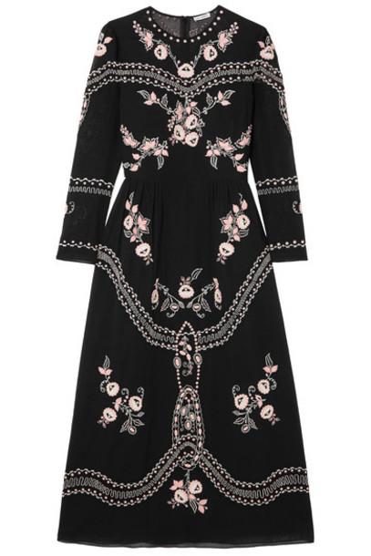 Vilshenko dress midi dress embroidered midi cotton black
