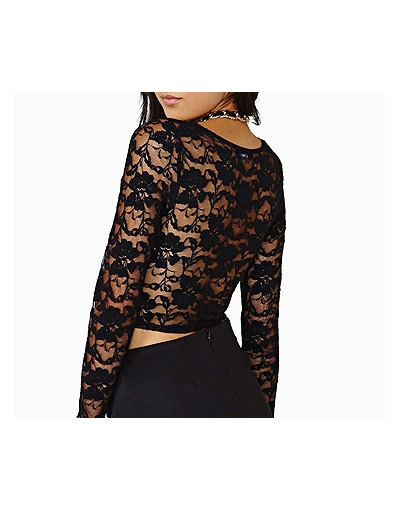 Crop top backless lace & leather