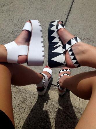 shoes black white monochrome wedges aztec