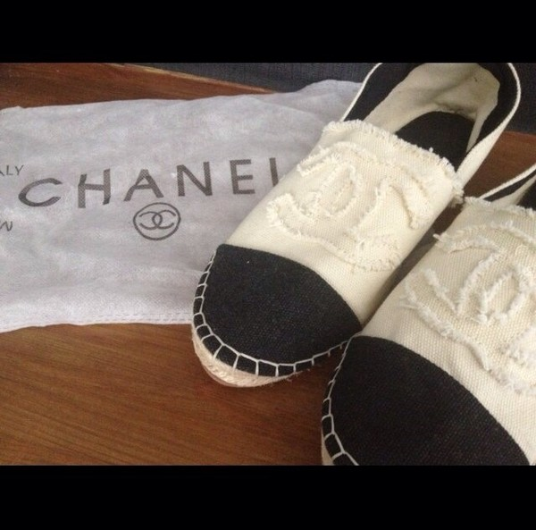 shoes chanel espadrilles white canvas