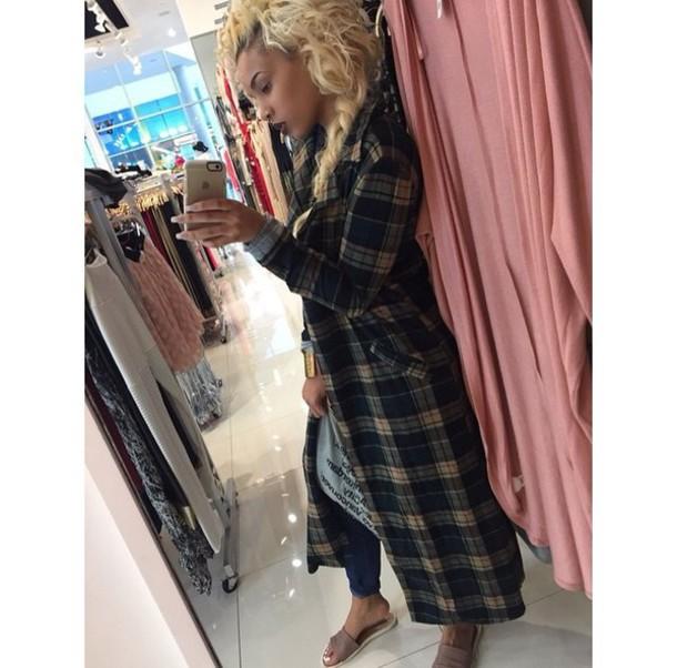 blouse black platform shoes long sleeves blonde hair